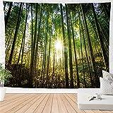 haoziggdeshoop Wandteppich Wandbehänge Bambuswald Sonnenschein Tapisserie Wandtuch Hausdeko...