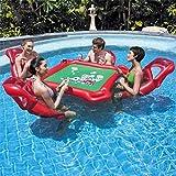 Gpzj Luftmatratze Wasser aufblasbarer Spieltisch mit 4 Stühlen ideal Pool Spielzeug Pool Party...