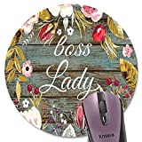 Boss Lady Lustiges rundes Mauspad, Vintage-Blumenkranz, rustikale Holzmaserung, Kunstblumen,...