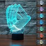 3D Baseball Handschuh Glühen LED Lampe 7 Farben erstaunliche optische Täuschung Art Skulptur...