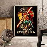XWArtpic American Science Fiction Wars Spielfilme Cartoon Star Space Einfache Serie Retro Poster Kunst Bar Wohnkultur Leinwand Malerei 60 * 100 cm