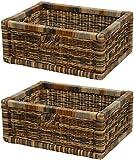 korb.outlet Stabiles Set / 2 Regalkorb mit Holzrahmen Schubfach aus echtem Rattan/Schübe Box zur...