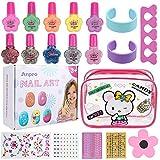 Anpro 19Stk Nagellack Set Nagelset Kinder Auf Wasserbasis, Nageldesign Mädchen Geschenk Set 4 glänzender Nagellack + 6 Einfarbiger Nagellack(ab 3 Jahren)