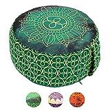 Lotus Design Meditationskissen/Yogakissen rund, Chakra Style, 15 cm hoch, Bezug 100% Baumwolle...