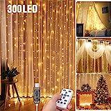 LED Lichtervorhang 3 * 3Meters Tomshine 300 LED USB Lichterkettenvorhang mit 8 Modi für Party deko...