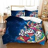 LIGAHUI Bettbezug Set Single 140X200 cm Anime Doraemon Bettwäsche Set Bettbezug Mit Reißverschluss Und 2 Kissenbezug 50x75 cm Fit Kinder Jugend