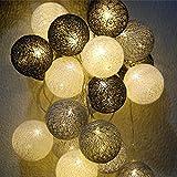 Cotton Ball Lichterkette Baumwollkugeln mit Stecker, 3,5M 20 LED Kugeln Lichterkette für Innen, Nachtlicht Deko wie Weihnachten, Hochzeit, Party, Zimmer (Grau)