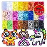 La Manuli 24000 Bügelperlen Mini Beads Set - 2,6 mm in 24 Farben mit Platte Zubehör Muster...