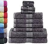 GREEN MARK Textilien 10 TLG. FROTTIER Handtuch-Set mit verschiedenen Größen 4X Handtücher, 2X Duschtücher, 2X Gästetücher, 2X Waschhandschuhe | Farbe: Anthrazit grau | Premium Qualität