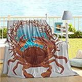 Seashells Decor Throw Decken, Krabben Spiral Muscheln und rote Koralle Frame Aquarium Cockleshell...