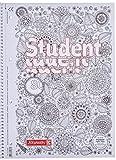 Brunnen 1067427 Notizblock / Collegeblock Student Zenart (A4, kariert Lineatur 28, 90 g/m², 80 Blatt)