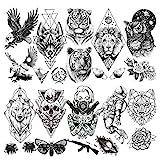 LAROI 10 Blätter Groß Löwe Tiger Tiere Temporäre Tattoos Männer Bär Eule Motte Frauen Arm Tod...