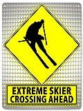 RETRO SIGNS BY J E MATRIX Extreme Skifahrer Metall Straßenschild Winter olimpics Ski/Mancave Funny...