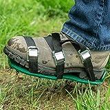 Abnaok Rasenbelüfter Schuhe Nagelschuhe, Rasenlüfter Vertikutierer Rasen mit 6 Verstellbare Gurte und Metal, Zum Einfachen Belüften von Rasenflächen