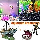Aquarium Dekoration Schiff + Aquarium Taucher, Corsair Schiff Versunkene Boot Segelschiff, Aquarium...
