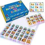 Magnetische Buchstaben und Zahlen für Kinder – Das komplette Set: 182 Buchstaben und 81 Zahlen sowie Symbole – Kühlschrankmagneten – Beinhaltet 2 Boxen, Magnettafel, Stifte und Löschschwamm