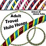 PRO Hula Hoops Reifen für Anfänger und Profis 3-FARBIG (Ultra-Grip/Glitter Deco) Faltbarer TRAVEL...