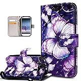 Kompatibel mit Galaxy S3 Hülle,Galaxy S3 Neo Hülle,3D Bunte Gemalte Schmetterlings PU Lederhülle...
