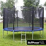 BullPower Outdoor Trampolin Gartentrampolin Kindertrampolin Netz Leiter Sicherheitsnetz (366 cm)