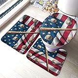 ROBTE Baseballschläger auf amerikanischen Nationalflagge Badezimmer Teppiche und Matten Sets 3...