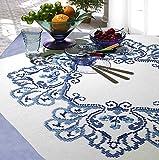 Kamaca Stickpackung Tischdecke Klassische Blumen Kreuzstich vorgezeichnet aus Baumwolle Stickset mit...