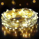 12M Led Lichterkette OMERIL 120 LED USB Lichterkette Draht Wasserdicht für Zimmer, Außen, Innen, Kinderzimmer, Weihnachten, Party, Hochzeit, DIY. Warmweiß