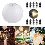 Dazone 10 Stücke Papierlaterne weiß Lampion + 10er Warmweiße Mini LED-Ballons Lichter, rund...