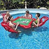 MRWJ Luftmatratze Wasser aufblasbarer Spieltisch mit 4 Stühlen ideal Pool Party Poker Spiele...