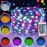 10M 100 LED Bunt Lichterkette Außen, 16 Farben USB Kupferdraht Lichterkette für Zimmer mit...