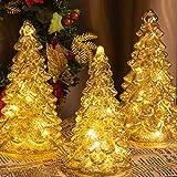ITART Glas Weihnachtsbaum mit LED-Leuchten 3 Stück Beleuchtete Weihnachtsbaumfigur Sortiment für...
