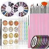 Nail Art Tools Fashion Designer, Stempel Nail Pen Set – 15 Stück Nail Painting Pinsel, 5...