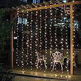 Salcar LED Lichtervorhang 3x3m IP44 Sterne Lichterkette, Lichtervorhang für Weihnachten,...