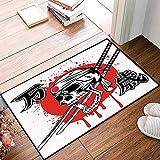 Rutschfester Badvorleger, Japaner, Totenkopf von Kamikaze mit Bandanna Samurai Schwertern japanische...