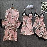 YUHOOE Damen Nachtwäsche Set,4 Stück Sommer Sexy Blumendruck Seidenpyjamas Für Frauen Pyjama...