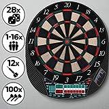 Physionics Elektronische Dartscheibe - 28 Spiele, 12 Soft Pfeile und 100 Ersatzspitzen (für bis zu...