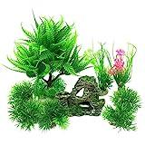 PietyPet Aquarium Wasserpflanzen Kunststoff Aquariumpflanze mit Harz Höhle Fisch Tank Ornament...
