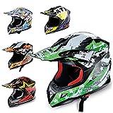 Hecht Motocrosshelm 54915 Motorrad-Helm Enduro ABS Quadhelm (S (55-56 cm), grün/schwarz/weiß)
