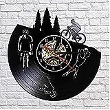 ZhaoCJB Schallplatte Wanduhr Dirt Bike Fahrrad Vintage Schallplatte Stille Wanduhr Skaten Hängen...
