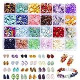 IVYSHION 24 Stücke Edelsteinperlen unregelmäßige Kristall Quarzstein DIY Schmuck Ohrringe Armbänder Halsketten Handwerk für Frauen(A)